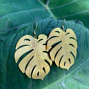 Large Monstera Leaf Earrings